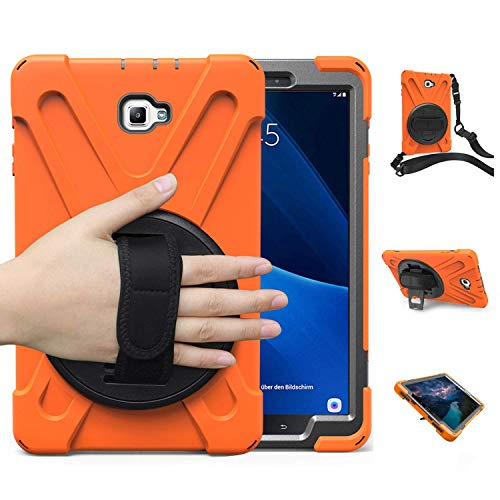 Samsung Galaxy Tab A 10.1 Case 2016 with Stand, SM-580 Case, Herize Full-Body Durable Shockproof Protective Rugged Case with Hand Strap & Shoulder Belt for Galaxy Tab A 10.1 Inch Tablet Orange