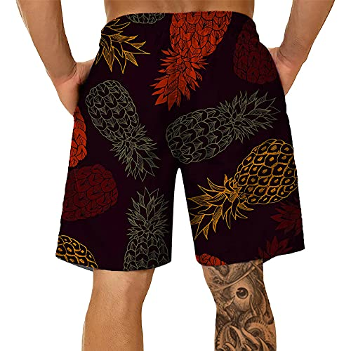 BIBOKAOKE Badehose Herren Große Größe Sommerhose Mode 3D Ananas Obst Bedrucktes Badehose Loose Surfen Hose Strandshorts Atmungsaktivität Boardshorts Freizeit Jogging Sporthose Tauchshorts