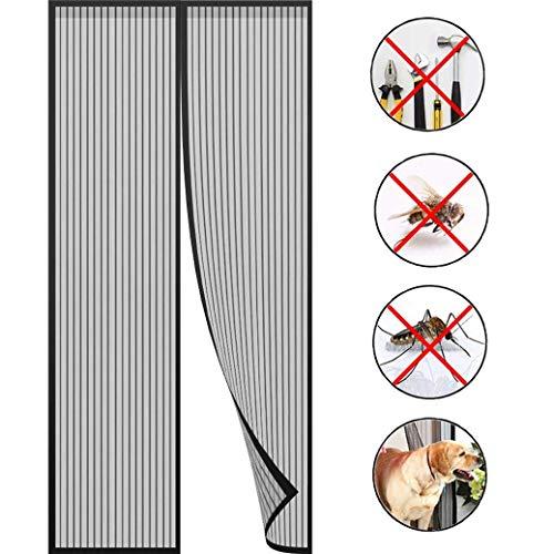 FCXBQ Fly Screen Door Magnetic Magnetic Door Curtain Screen Insect Screen Magnetic Adsorption for Balcony Door Living Room Door Black 180x210cm 71x83inch