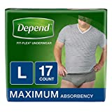 Depend FIT-FLEX Incontinence Underwear for Men, Maximum Absorbency, Disposable, Large, Grey, 17 Count