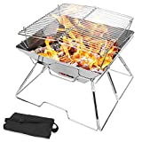 Odoland Collapsible Campfire Grill Camping Fire Pit, 304 Stainless Steel Grill Gate, Heavy Duty Portable Camping Grill with Carrying Bag