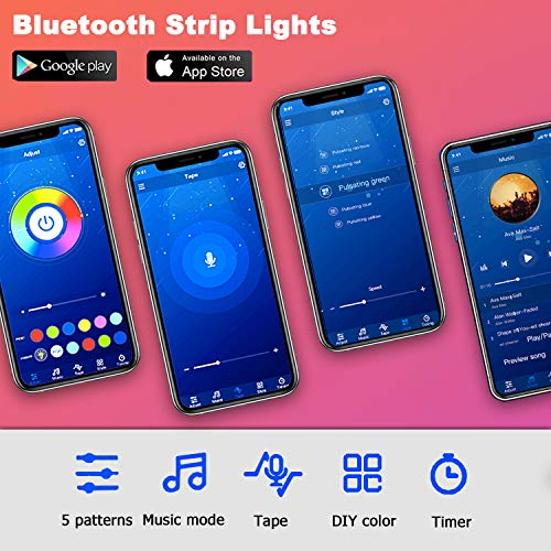 Phopollo Bluetooth Led Strip Lights, 32.8ft Flexible Led Lights with Phone Control and 24 Keys Remote for Bedroom, House and Holiday Decoration 7