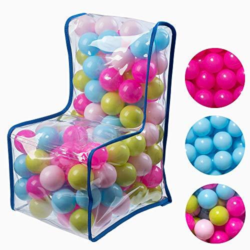 KADAX Kindersessel mit Bällen, Sitzsack, Kinderstuhl für Jungen, Mädchen, Spielzimmer, Kinderzimmer, Kindermöbel aus Kunststoff, Sessel, Babysessel, kindersicherer Sitz (Pastellfarben)
