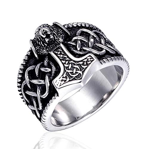 Anillo nudo celta vikingo VUJK para hombre, anillos acero inoxidable León nórdico, joyería amuleto, anillos para hombres y mujeres, anillos 7