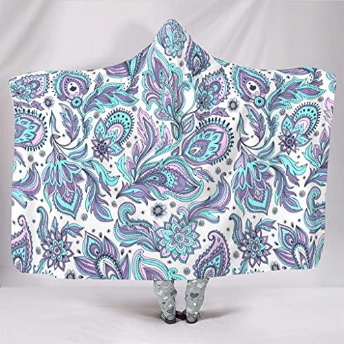 OwlOwlfan Manta de mandala con diseño de flores de cachemira, ligera, acogedora, transpirable, reversible, para sofá, cama, silla para la familia, 127 x 152 cm