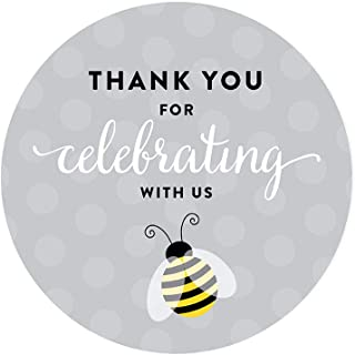 Andaz Press Mama to Bee Bumblebee Gender Neutral Baby Shower Collection, Round Circle Label Stickers, Thank You for Celebr...