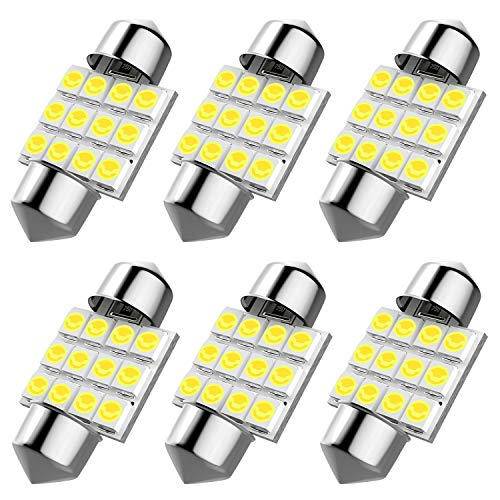 6pcs DE3175 led bulb? DE3021 DE3022 31mm Festoon Led Bulb for Car Interior License Plate Dome Map Door Courtesy Lights, Color White