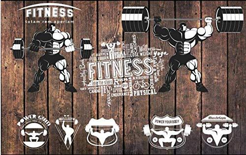 MINCOCO 3D muurschilderingen Behang voor Woonkamer Retro Plank Oefening Gewichtheffen Gym Home Decor Fotobehang 400 x 280 cm.