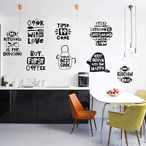 Runtoo Pegatinas de Pared Letras Cocina Stickers Frases Café Adhesivos Vinilo Decorativas Cocinero Comedor Cocina