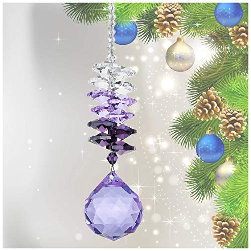 HampD 30mm Purple Chandelier Crystals Ball Rainbow Octogon Chakra Hanging Suncatcher Decorating Balls
