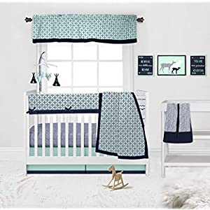 Bacati Aztec/Tribal 10-Piece Nursery-in-a-Bag Crib Bedding Set with Long Rail Guard, 100 Percent Cotton Percale for US Standard Cribs (Noah Mint/Navy)