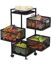 SXJC Obracane o 360° wózki kuchenne z kółkami, wielowarstwowy przenośny wózek do przechowywania, stojaki na owoce na warzywa do kuchni, do przechowywania mebli biurowych i wózków do serwowania, 4F