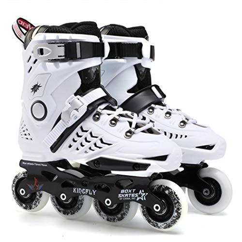 Inline-Skates, PU-Leder, für Damen, Herren, Erwachsene, Unisex, weiß, 43