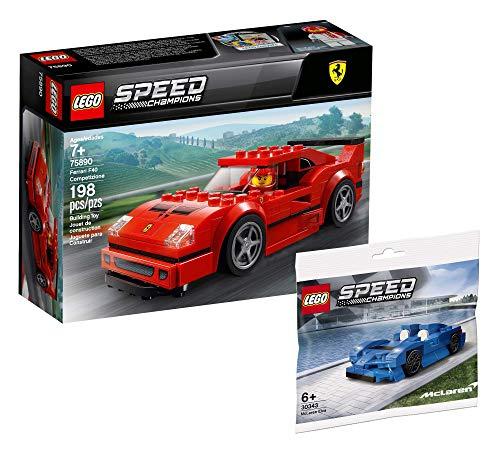 Lego Speed Champions Set – Modelo de coche Ferrari F40 Competizione 75890 + McLaren Elva 30343 (bolsa de plástico)