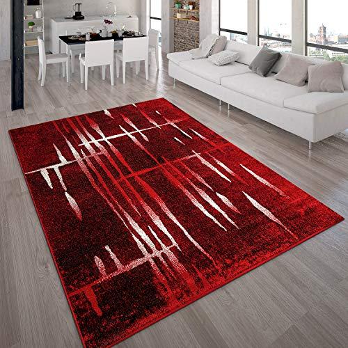 Paco Home Designer Teppich Modern Trendiger Kurzflor Teppich in Rot Creme Meliert, Grösse:120x170 cm
