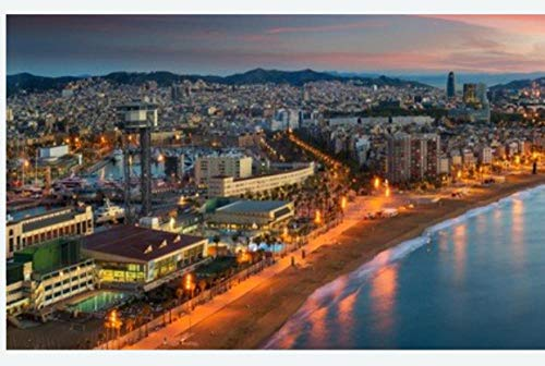 N\A Puzzle Jigsaw Rompecabezas De 500 Piezas - Barcelona Beach On Morning Sunrise with Barcelobna City and Sea from The Roof Top of Hotel Spain - para Niños Adultos