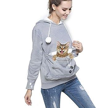 Womens Pet Carrier Shirts Kitten Puppy Holder Animal Pouch Hood Sweatshirt L