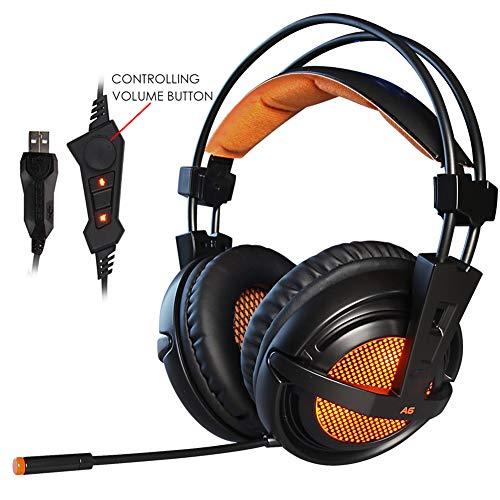 DZSF Casque Stéréo Filaire Gaming USB 7.1 Jeu Casque sur L'oreille avec Mic Commande Vocale pour Ordinateur Portable Jeu