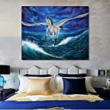 ganlanshu Pintura sin Marco Estilo nórdico Moderno Colorido Hermoso país de Las Hadas Caballo póster Lienzo Arte decoración de la salaZGQ3906 30X45cm