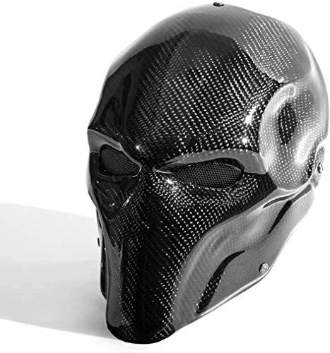 WLXW Schwarz Terminator Deathstroke Maske Halloween Ritter Maske Cosplay Erwachsene Männer Carbon Gesicht Helm Kostüm Film Karneval Kostüm Zubehör