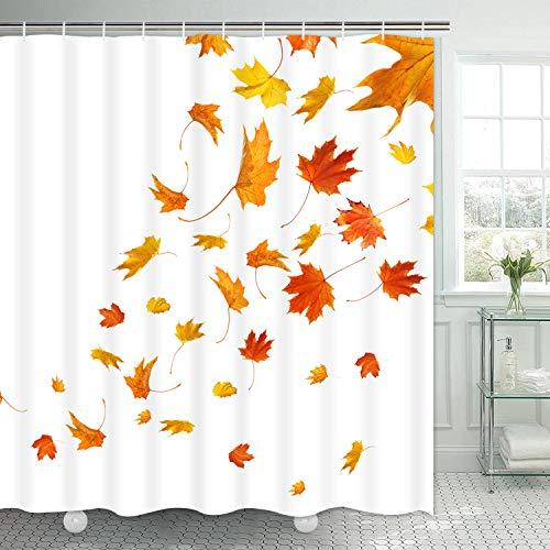 Pknoclan Duschvorhang mit Falling Maple Leaf Concise Fall Thema Duschvorhang mit 12 Haken, wasserdichter Stoff Herbst Duschvorhang für Badezimmer, weiß orange, 175,3 x 177,8 cm