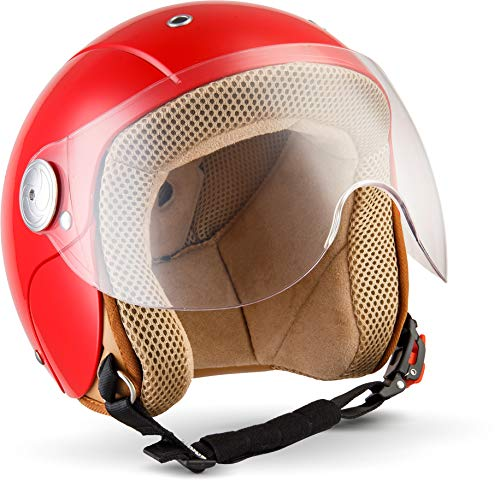 "SOXON® SK-55 ""Red"" · Kinder Jet-Helm · Motorrad-Helm Kinder-Helm Roller-Helm Kids Scooter-Helm Vespa Bobber Mofa-Helm Chopper Retro · ECE 22.05 Visier Schnellverschluss SlimShell Tasche XXS (49-50cm)"