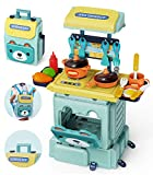 Geyiie Kids Kitchen Playset, 2 in 1 Kitchen Toy Backpack Pretend Play House with Removable Straps, Play Kitchen for Toddler with Realistic Light Music, Toy Kitchen Gift for 3 4 5 6 7 8 Boy and Girl