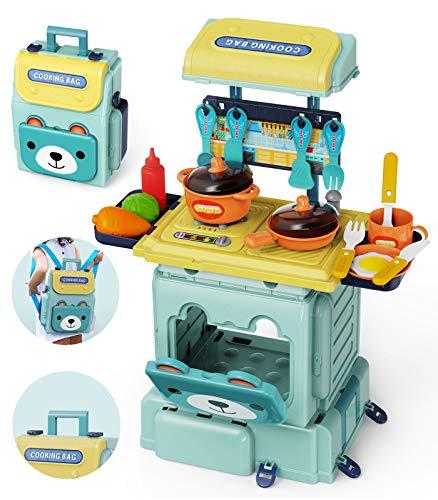 GeyiieTOYS Küchen-Set, Spielzeug und Küchenzubehör für Kinder, 2-in-1, Spielzeug mit Simulation, 29-teiliges Küchenspielzeug für Jungen und Mädchen