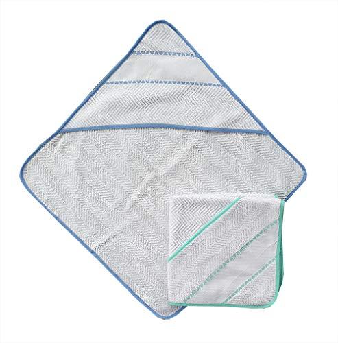 Accappatoio a triangolo per neonato set da due pezzi colore azzurro e verde con inserto in tela aida per ricamo a punto croce misura cm 60x60 100% cotone prodotto in Italia