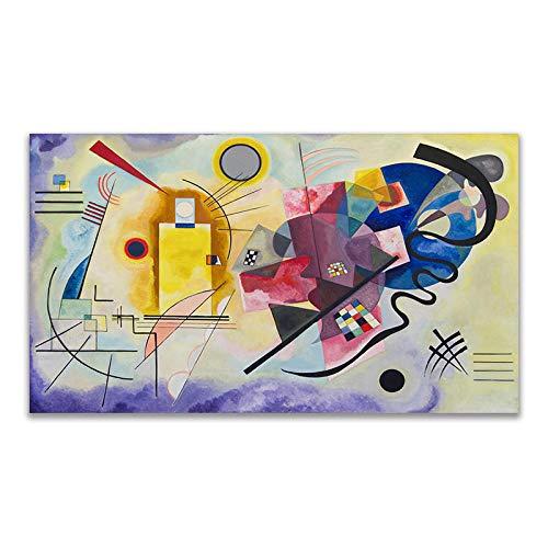 QWEI Kandinsky Abstracto Famoso Lienzo Pintura Rojo Amarillo Azul Arte Cuadro de Pared para Sala de Estar decoración del hogar Carteles e Impresiones HD 40x71cm sin Marco A