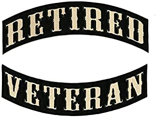 Retired Veteran Rockers Patch | Large Military Motorcycle Jacket Embroidered Patches Iron On 2 pc. Set - by Nixon Thread Co. (12