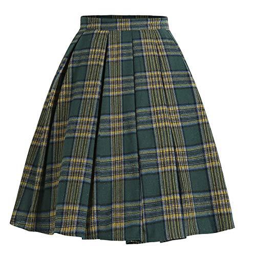 AILIEE Falda media para mujer, carnaval, falda de tenis de cintura alta, falda plisada, minifalda de cóctel, vestido de verano #2 Verde XL