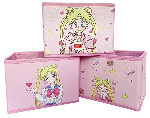 Sailor Moon - Caja de almacenamiento plegable con bonito patrón para escritorio, oficina, dormitorio, guardería, armario, paquete de 3