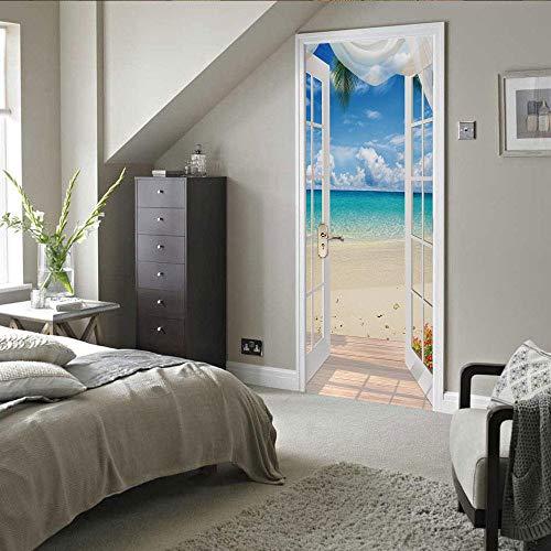 Modern Art - Adhesivo decorativo para puerta 3D, 90 x 200 cm, vinilo extraíble para puertas interiores, dormitorio, sala de estar, baño, decoración del hogar, puerta, mar, nubes blancas