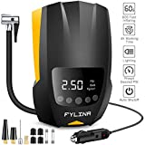 FYLINA Digital Tyre Inflator,12V 150PSI Portable Air Compressor with 4-Hour Continuous Working Time & LED Light, 4 Nozzle Adaptors for Car, Motorcycle, Bicycle, Air Mattress, Ball etc.