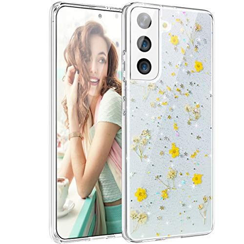 VePret for Galaxy S21 Plus Case, Clear Glitter with Design for Girls Women, Pressed Dried Real Handmade Floral Flower Cute Protective Case for Samsung Galaxy S21+ Plus 6.7,Yellow