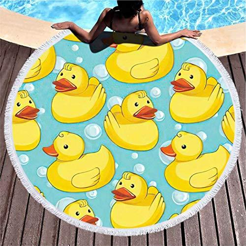 Aofire Duckies Round Beach Towel Oversized Sand Free Yellow Rubber Ducks Cartoon Toys Pool Beach Towel for Adults Microfiber Throw Beach Blanket, 39 Inch
