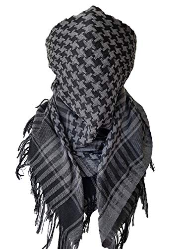 Military Scarf Shemagh Keffiyeh Cotton Bandana Head Wrap Tactical Gear for Men Neck Gaiter Gray Black