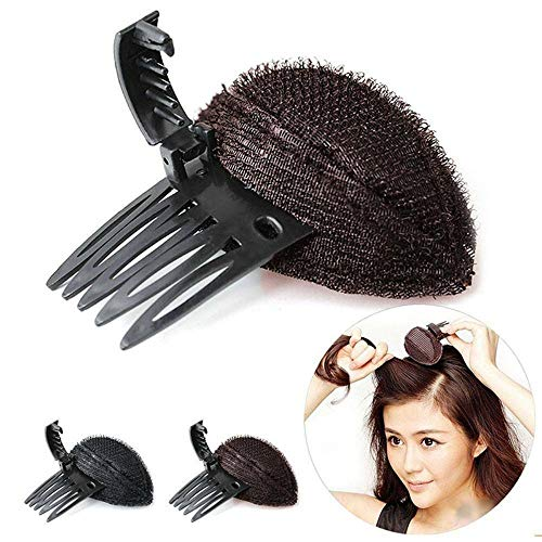 2PCS Perfect Puff Hair Head Cushion,Bump it Up Volume Hair Base,Fluffy Princess Styling for Women Lady Girl DIY Hair Beauty Tool (Black)