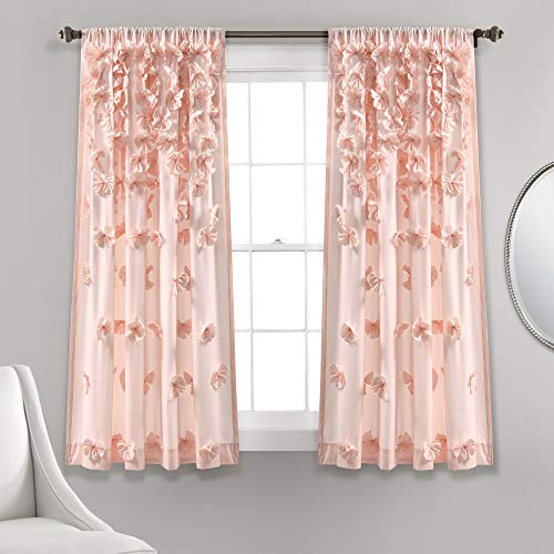 """Lush Decor Blush Riley Curtain Sheer Ruffled Textured Bow Window Panel for Living, Dining Room, Bedroom (Single) 63"""" x 54 L"""