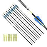 ELONG OUTDOOR Frecce in carbonio mista per la caccia all'arco, 28' 30' 32' per l'inserimento con archi Compound Recurve (12 pezzi)