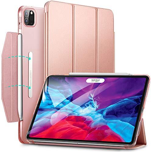 ESR Yippee - Capa para iPad Pro 12.9 2020/2018 (função de suporte, fechamento automático, função de ligar/desligar automático, compatível com caneta de carregamento sem fio 2), rosa