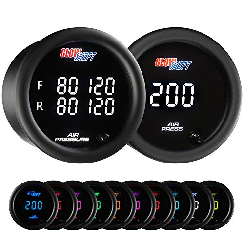GlowShift 10 Color Digital 200 PSI Air Pressure Gauge Package Kit for Air Ride Suspension Systems - Includes Quad & Single Display Gauges with Dual Under Dashboard Mounting Bracket Pod