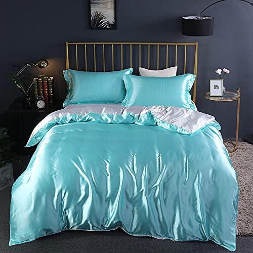 Cubierta de seda de seda de hielo de color sólido de verano, ropa de cama, ropa de cama, arruga, fundido, hoja de bolsillo resistente a las manchas, hoja plana, fundas de almohada-J_Cama de 2.0m (4 p
