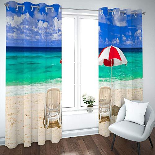 MENGBB Cortina Opaca Microfibra Infantil 240x230cm Tumbonas de Playa con Vista al mar 95% Opaca Cortina aislantes de frío y Calor Decorativa con Ojales Estilo para Salón Habitación y Dormitori