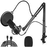Peradix Microphone à Condensateur USB, Micro Cardioïde 192kHZ/ 24bit pour Enregistrement, Support Anti-Choc et Filtre Anti-Pop pour Enregistrement Studio Broadcast Live Periscope Youtube Voix Off