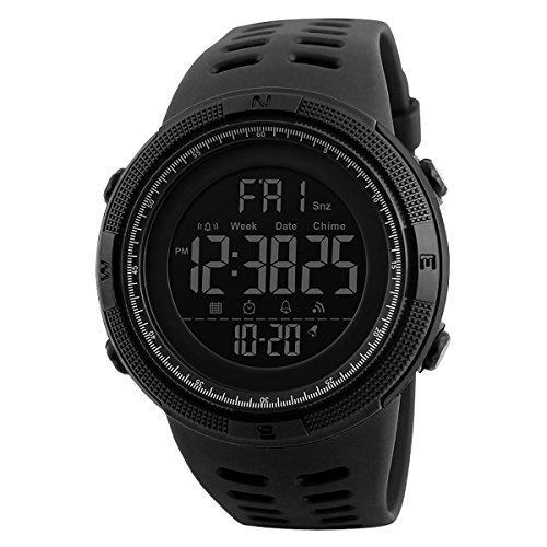 Skmei Digital-Armbanduhr für Herren, großes Display, Armband aus Kunstharz, mit Stoppuhr und Alarm, DG1251