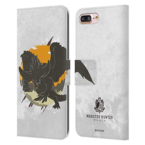 Head Case Designs Officially Licensed Monster Hunter World Nergigante Silhouettes Leather Book Wallet Case Cover Compatible with Apple iPhone 7 Plus/iPhone 8 Plus
