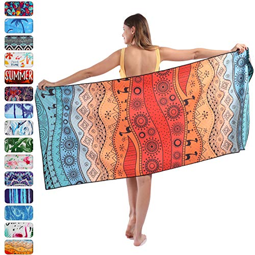 """Beach Towel, Microfiber Beach Towels, Oversized, Quick Dry (73"""" x 35"""") Sand Proof, Absorbent, Compact, Beach Blanket, Lightweight Towel for The Swimming, Sports, Beach, Gym-Abstract"""