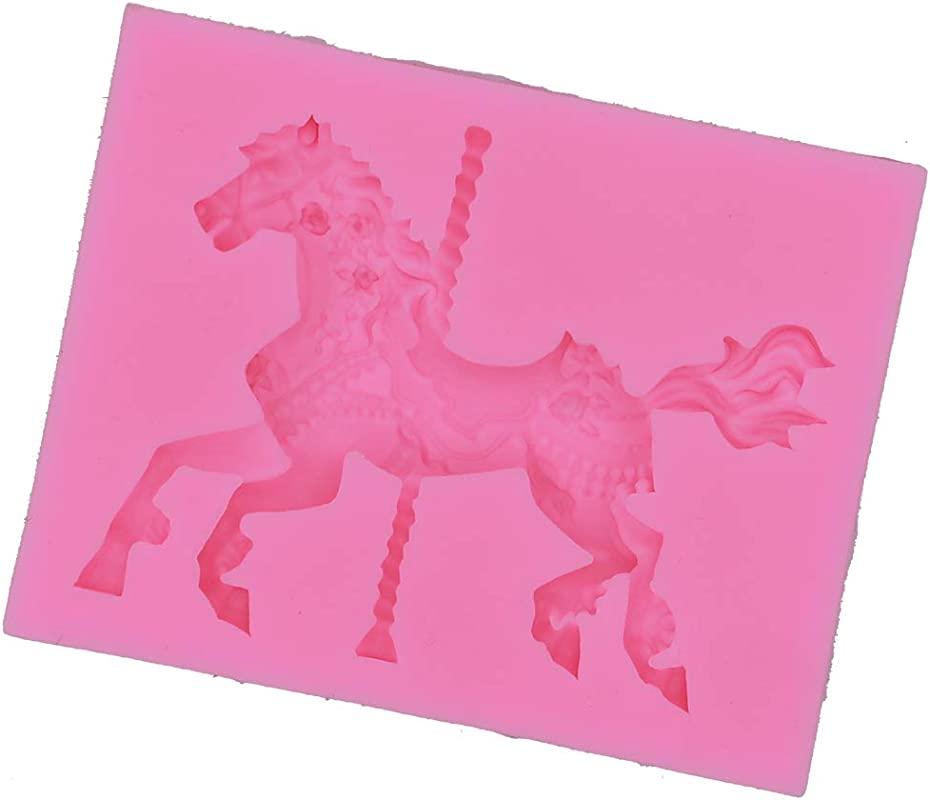 Topfun Carousel Horse Mould Candy Mold Silicone Fondant Cake Soap Molds For Decorating Cake Chocolate Jelly Sugar Type